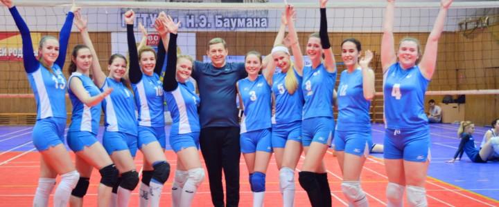 Женская сборная команда МПГУ по волейболу завоевала первое место на предварительном этапе ХХХ Московских спортивных студенческих игр