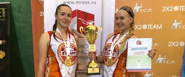 Студентки МПГУ Елизавета Терентьева и Анна Бубнова заняли 1 место по пляжному волейболу в программе XXXI Московских студенческих спортивных игр