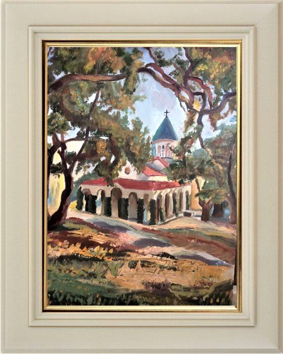 Давыдова Валерия. «Пейзаж с католической церковью», масло, (30х40 см)