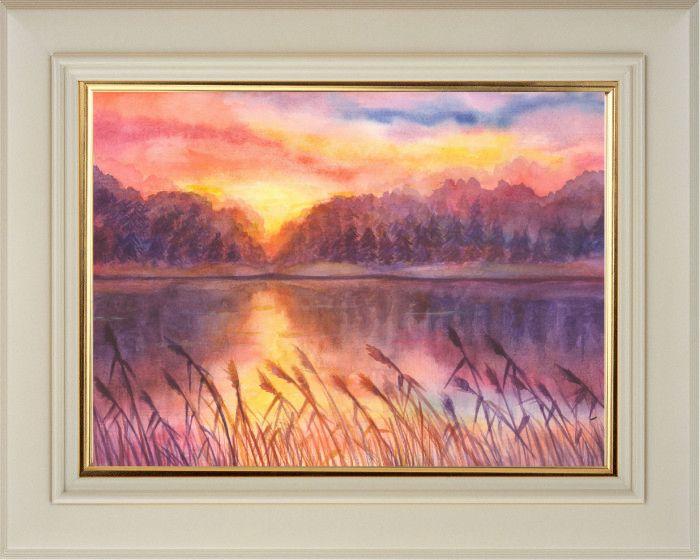 Кин Александра. «Осенний закат», акварель, (21 х 29,7 см)
