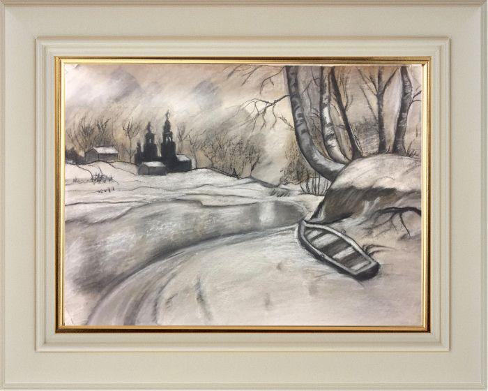 Малютина Юлия. «Зимний пейзаж», акв., бум., (29,7х21 см)