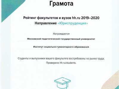 Победа в рейтинге лучших факультетов и вузов Москвы по версииhh.ru2019-2020
