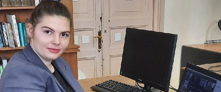 Студентка Института филологии Дарья Свитайло на  педагогическом хакатоне «Учителя будущего»