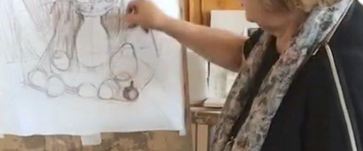 В Анапском филиале прошел мастер-класс «Рисунок натюрморта с цветами»